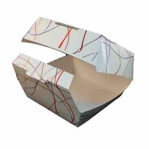 CAJAS CARTONCILLO FOLDING 225GR FONDO BLANCO 140X140X75MM PARA HAMBURGUESAS