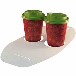 TRANSPORTIN PORTAVASOS CARTONCILLO FOLDING DECORADO FONDO BLANCO 370X170mm PARA 2 VASOS DIAMETRO 80mm PARA VASO CUP009-SUS009-SUS199